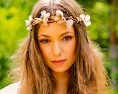 Bridal Gold Headdress hair wreath HeadPiece flower crown fall winter halo Destination Wedding accessories Renaissance festival metallic