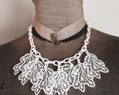 Vintage Celluloid White Lace Leaves Dangle Necklace