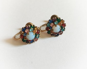 Vintage Rainbow Rhinestone Earrings Screw Backs