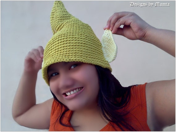 Free Crochet Pattern For Tinkerbell Hat : Crochet Tinkerbell Fairy Hat Pattern Elf Gnome Hat With by ...