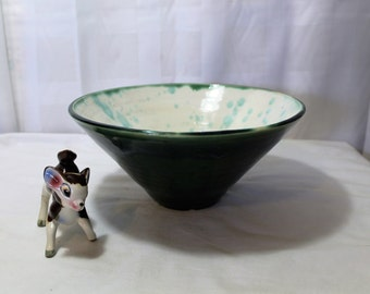 Large Vintage Hand Thrown Pottery Bowl, Green, Studio Art Pottery, Signed A