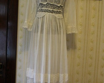 Antique Victorian Sheer Cotton and Lace Wedding Dress Gown, Small 2-4