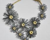 Summer Daisy - Black - Handmade Paper Raffia Daisy Bib Necklace