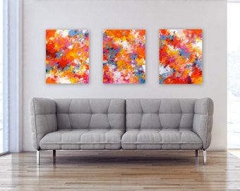 Original Triptych Abstract Expressionist Paintings, Modern Home Decor, Colorful Contemporary Wall Art, Set of 3 acrylic on 16x20 canvases