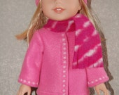 "Jacket Hat Scarf for 14"" Wellie Wishers or Melissa & Doug Doll Clothes pink stars tkct963"