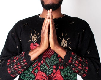 Vintage Sweater // Silent Night Noel Lurex Glitter Knit Tacky Jumper // UGLY CHRISTMAS SWEATER (sz M/L)