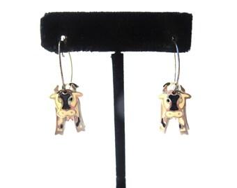 Pair of Adorable 1980's Signed Edgar Berebi 3D White, Black & Pink Enamel Silver Tone Metal Vintage Movable Pierced Dangling Hoop Earrings