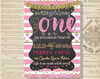 Digital Chalkboard Pink and Gold Glittery Birthday Girl First Invitation Personalized Printable Any Age