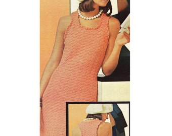 INSTANT DOWNLOAD PDF Vintage Crochet Pattern   Shell Sun Dress 1970s Retro