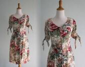 Romantic 90s Floral Rayon Dress by Pastille - Vintage Wallpaper Floral Waist Tie Dress  - Vintage 1990s Dress XS S