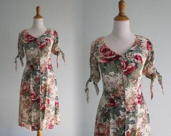 Vintage Autumn Rose Dress - Sweet 90s Floral Rayon Dress by Pastille - Vintage 1990s Dress XS S