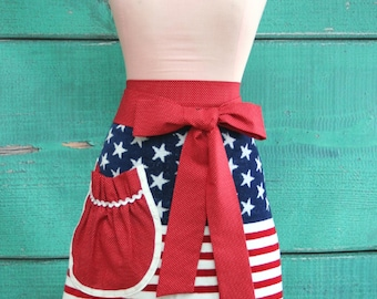 Towel Apron - 4th of July Apron - American Flag - Red, White & Blue