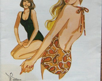 vintage 70s kwik sew pattern 173 misses one piece halter swimsuit sz 8-10-12