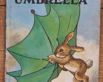 vintage 50s ladybird book The Green Umbrella bunnies children picture book boy girl