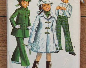 Vintage 60s Simplicity pattern 8478 Girls Mini COAT Bell-Bottom PANTS HAT sz 8