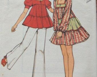 vintage 1973 style pattern 4136 misses dress tunic pants sz 10 b32 1/2