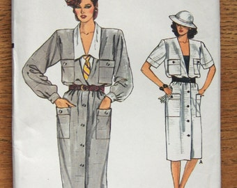 vintage 80s vogue pattern 9207 misses loose fitting straight dress and sleeveless top sz 12-14-16 uncut