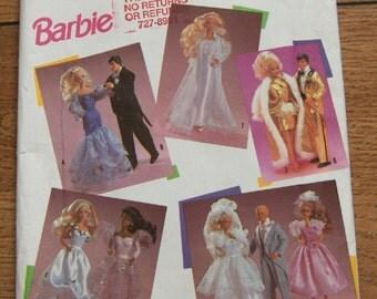vintage 1991 simplicity pattern 7362 Fashion Doll Barbie Ken Clothes uncut toy children girl