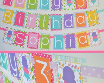Ice Cream Cone Birthday Party Banner Fully Assembled Decorations | Ice Cream Cone | Girl Ice Cream | Summer Birthday | First Birthday |