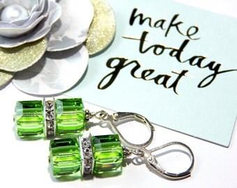 Sterling Silver Swarovski Crystal Cube Earrings-Peridot