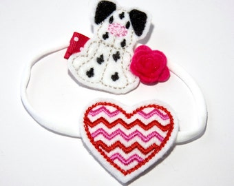 Embroidered Chevron Nylon Headband and one Embroidered Dalmation Felt Hair Clippie