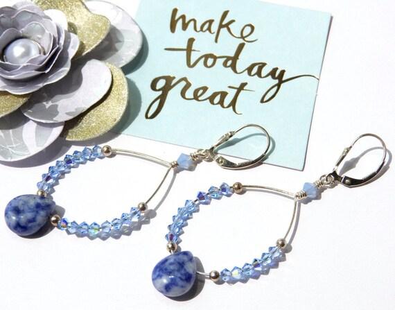 Sodalite/Swarovski Crystal Blue Dangle Earrings