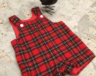 Vintage Baby Toddler - Red Plaid Romper - Holiday Baby - Christmas Pictures - Dressy Romper Playsuit in Plaid - Bloomingdales 22 Chest