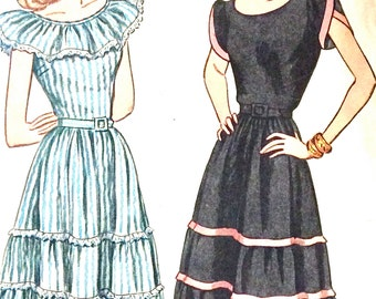 1940s Uncut Simplicity 1926 Misses' One-Piece Dress Dart Fitted Petal Sleeves Ruffle Trim Peasant Skirt Vintage Sewing Pattern Bust 30
