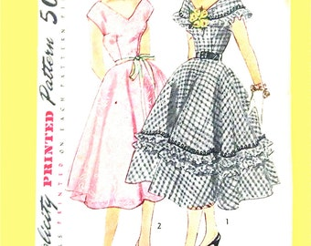 1950's Simplicity 8486 Vintage Sewing Pattern Misses' One-Piece Dress Wide Collar, Ruffles, Deep V, Sleeveless, Circle Skirt  Bust 32 inches
