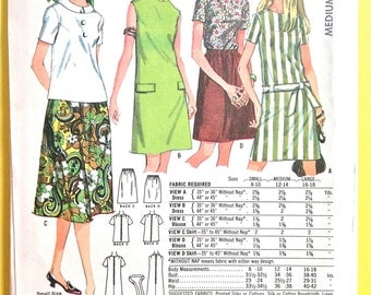 60s McCall's 44 Misses' Dress and Blouse Skirt in 2 Lengths Quaker Oats Vintage Sewing Pattern Size Medium