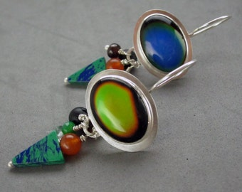 Color Changing Mood Earrings, Sterling Silver Colorful Dangle Earrings