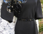 PLUS SIZE SEQUIN Daisy flowers Wool Black Dress by Adrienne Vittadini, vintage 1980s 80s dress, wool sweater dress, beaded dress