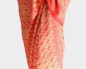 Beach Sarong Women's Swimwear Batik Sarong Pareo Wrap Skirt Chiffon Sarong Coverup Elegant Coral and Cream Beach Wrap Skirt or Chiffon Scarf