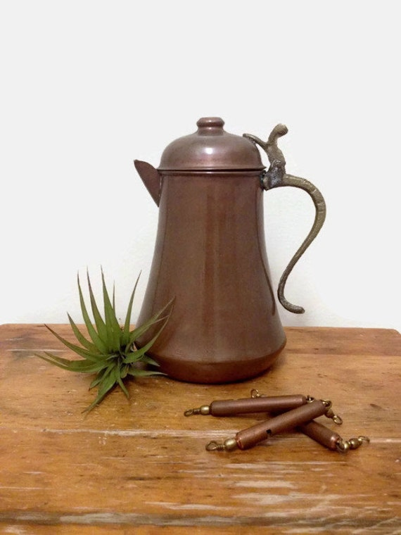Vintage Copper Kettle with Brass Handle - Jug or Pitcher - Rustic Kitchen Decor