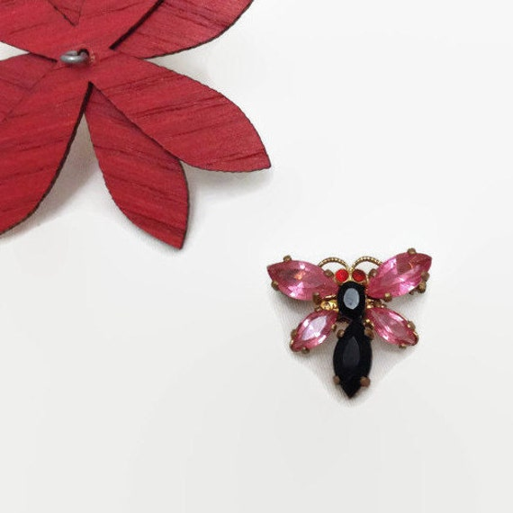 Vintage Butterfly Pin - Czech Glass - Small Brooch - Pink - Black - Gold Tone