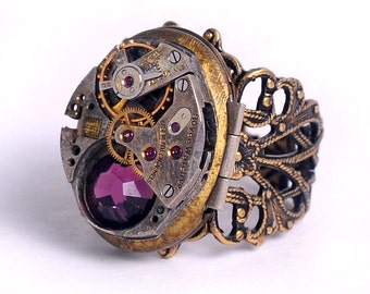 Steampunk Antique Watch and Amethyst Crystal Movement Locket Ring