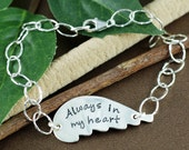 Always in my Heart Bracelet, Hand Stamped Wing Bracelet, Personalized Memorial Bracelet, Remembrance Jewelry, Loss of a Loved One