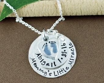 Personalized Necklace with Heart, Custom Hand Stamped Necklace, Baby Feet Necklace, Push Present, Mommy Necklace