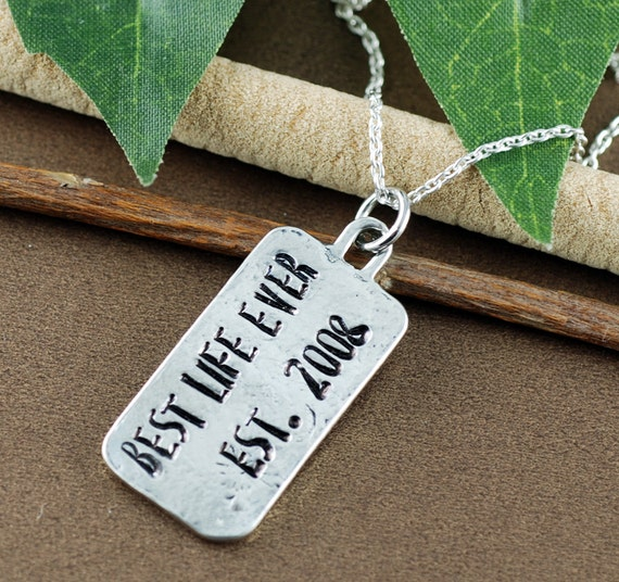Best Life Ever Necklace, Pewter Necklace, Inspirational Necklace, Encouragement Gift, Anniversary Gift, Gift for BFF, Message Jewelry