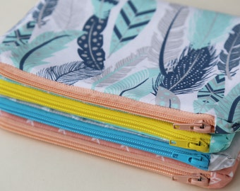 Gray, Mint, Blue feather and arrow Zipper Pouch, Pencil Pouch, College, School Supplies, Organize