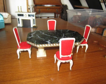 Set of 4 Hostess Dining Chairs with Dining Table.  Ideal Petite Princess Dollhouse Miniature #12
