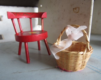 Dollhouse Decor. Red Painted Kitchen Armchair and Basket. #237