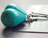 Reserved for Linda Margarita Blue Turquoise Magnesite Stainless Steel Silver Earrings