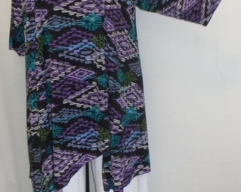 Plus Size Tunic, Coco and Juan, Plus Size Asymmetrical Tunic Top, Purple, Tahiti Print, Traveler Knit Size 2 (fits 3X,4X)   Bust 60 inches