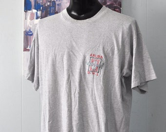 Vintage Aruba Tshirt Sharks Pinstriped Gray Embroidered Tee Sailing Boats Ocean 90s XL