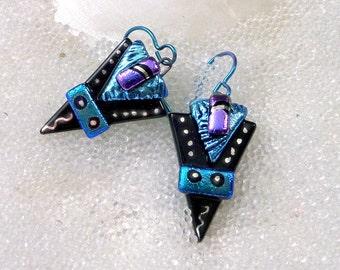 Earrings in Dichroic Fused Glass, Sparkling Jewel Tones, Hypoallergenic Niobium Wires, Dangle Earrings