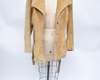 vintage suede leather jacket trench leather jacket coat belted wrap