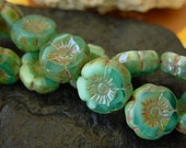 Czech Picasso Beads, 12mm Hawaiian Flower, Czech Glass Beads- Aqua/Lt Blue Picasso (10)