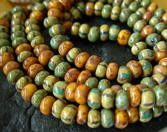 """Picasso Seed Beads, 4/0 Czech Seed Beads, Aged Picasso- Mosaic Striped Mix (1/20"""") #501"""