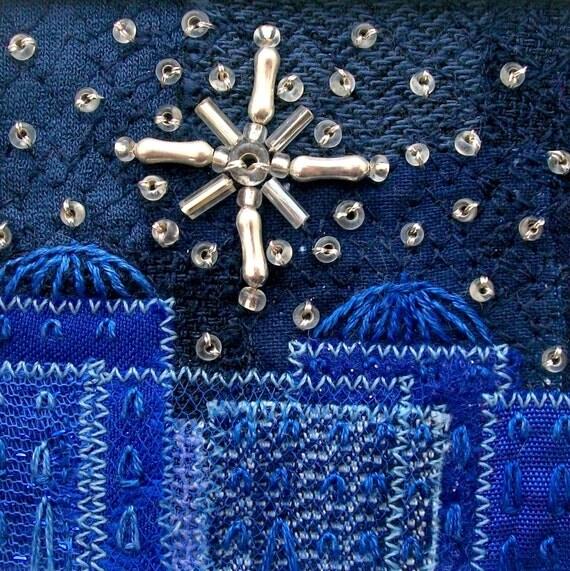 bestickte perlen weihnachtskarte 5 zoll quadrat stoff karte. Black Bedroom Furniture Sets. Home Design Ideas